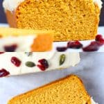 A collage of two gluten-free vegan pumpkin loaf cake photos
