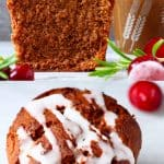 A collage of two gluten-free vegan gingerbread muffins photos