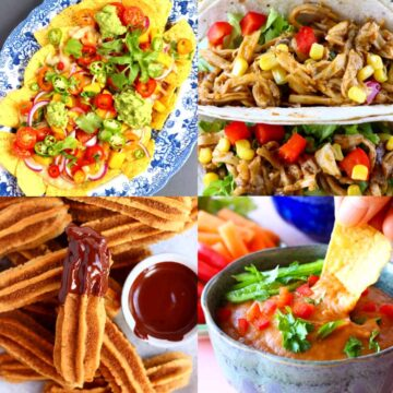 A collage of four vegan Mexican recipes photos